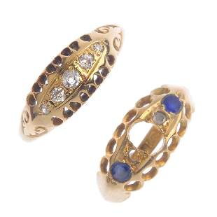 Two 18ct gold gemset jewellery rings To include a