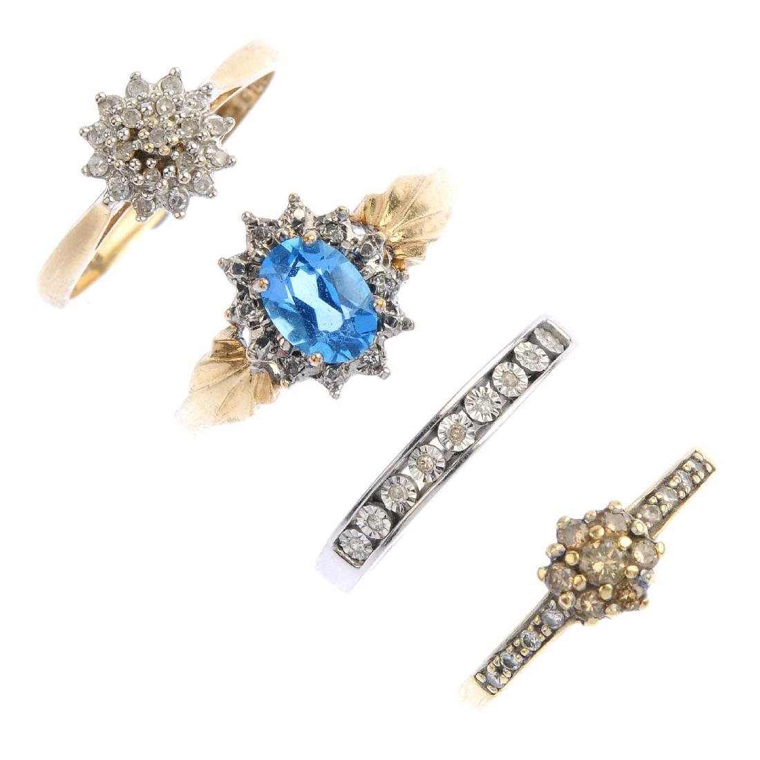 Four 9ct gold diamond gem-set dress rings. To include a