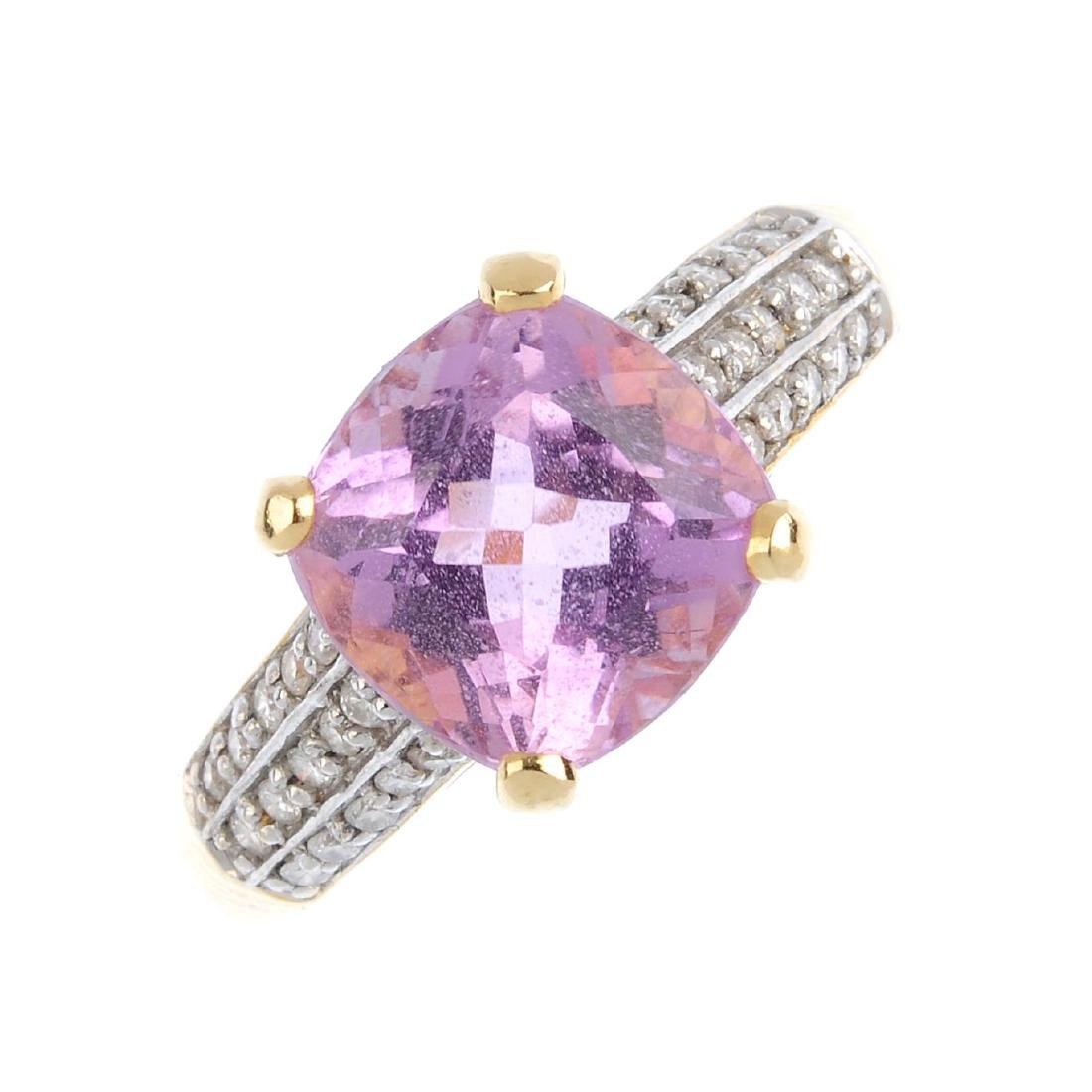 An 18ct gold kunzite and diamond ring. The