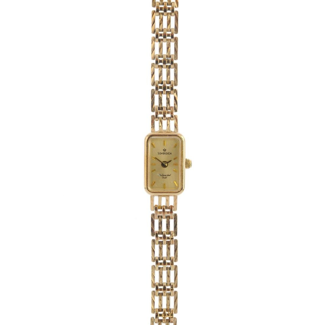 A lady's 9ct gold cocktail watch. The rectangular dial,
