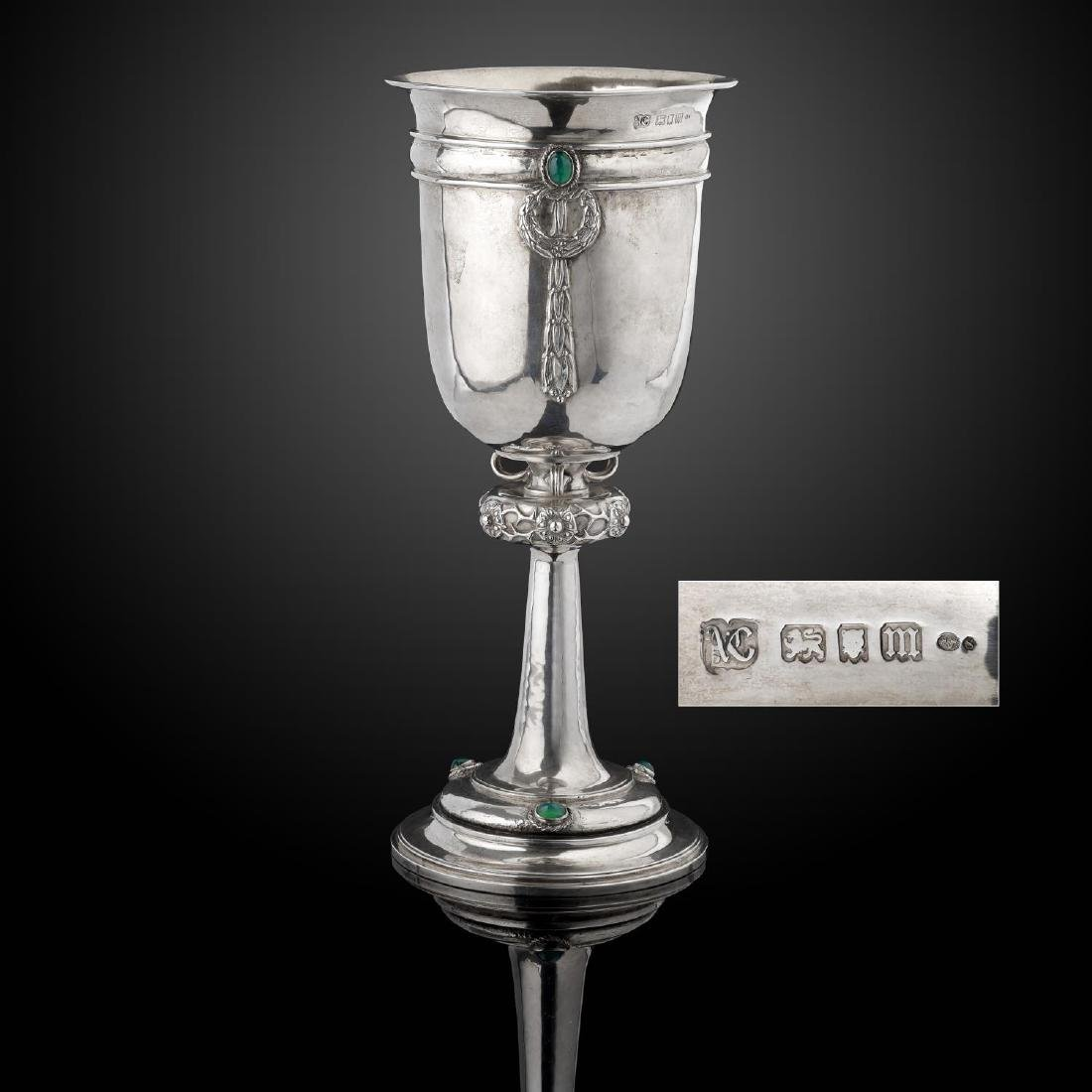 A large silver chalice by Alwyn Carr, the bowl with