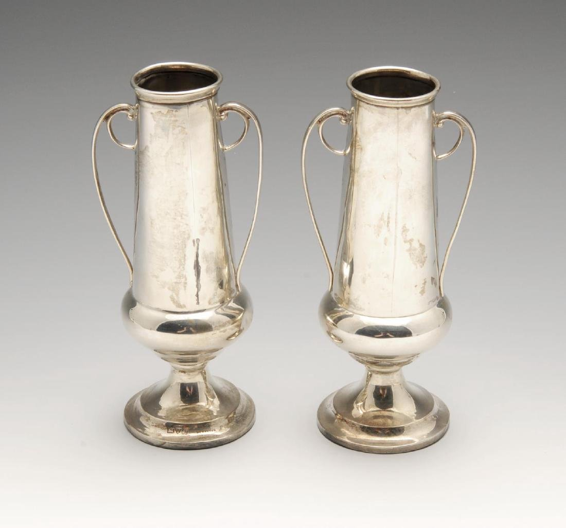 A pair of small Edwardian silver twin-handled vases,