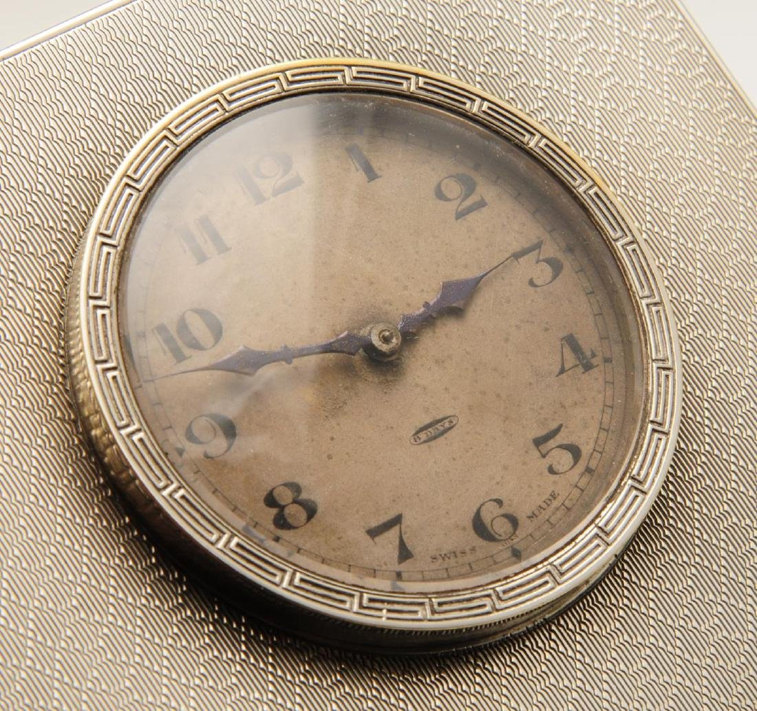 A 1920's silver mounted desk clock, of square shaped - 3