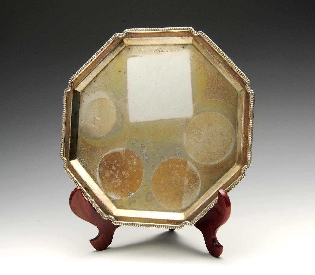 A mid-twentieth century silver salver in Art Deco