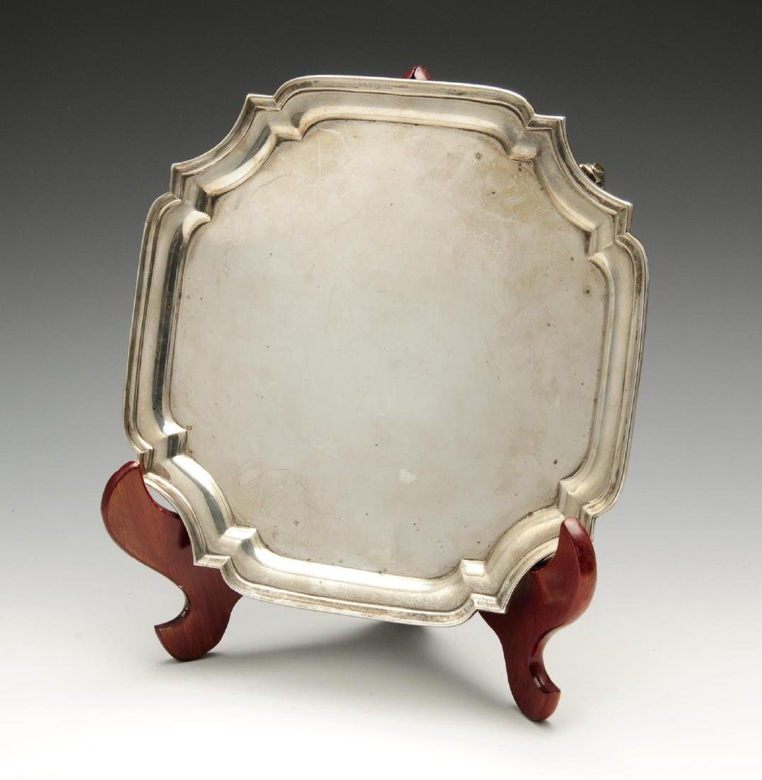 A 1960's silver salver, of plain square shaped form