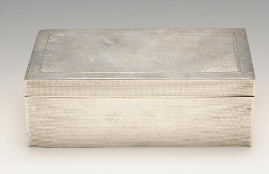 A late Victorian silver mounted table cigarette box, of - 4