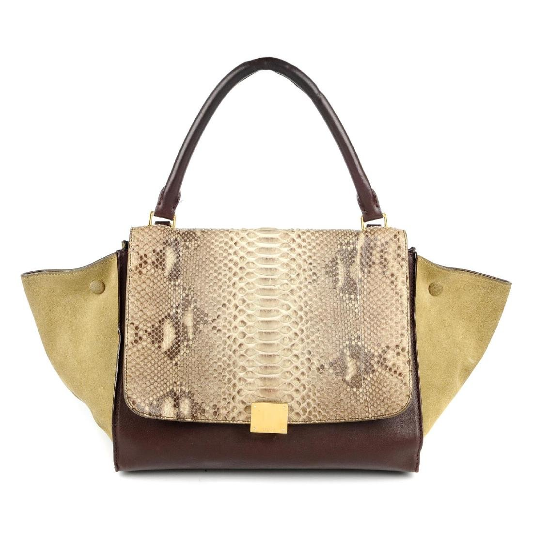 CÉLINE - a python skin trapeze handbag. Crafted from