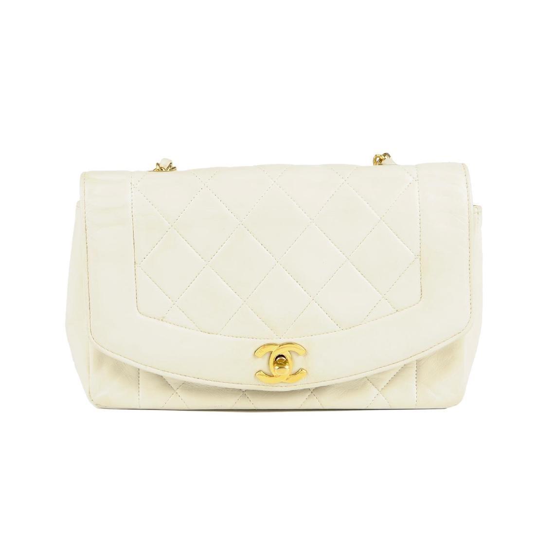 CHANEL - a vintage ivory lambskin leather handbag.