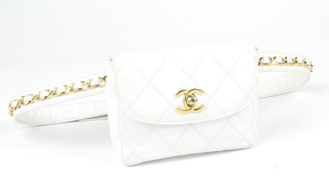 CHANEL - a vintage waist belt bag. Crafted from white - 2