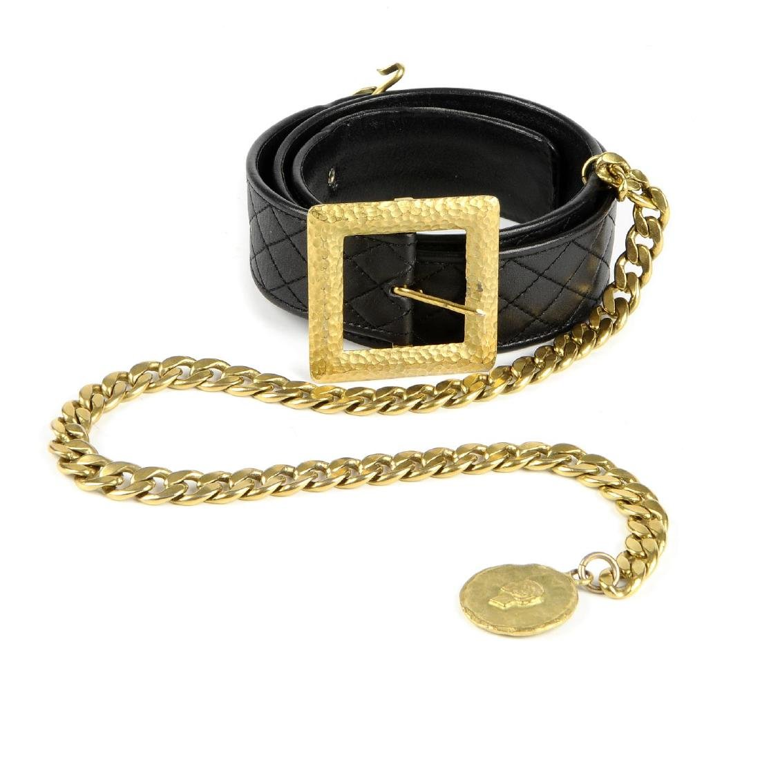 CHANEL - a vintage leather belt with chain drop. The