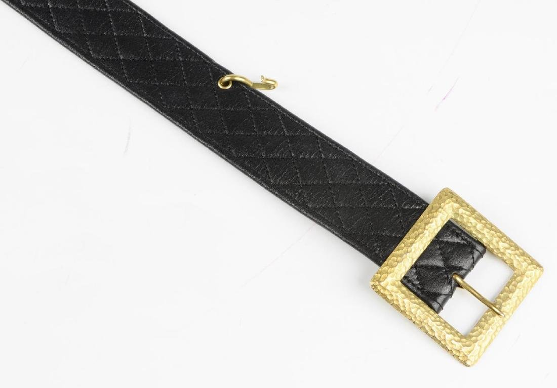 CHANEL - a vintage leather belt with chain drop. The - 3