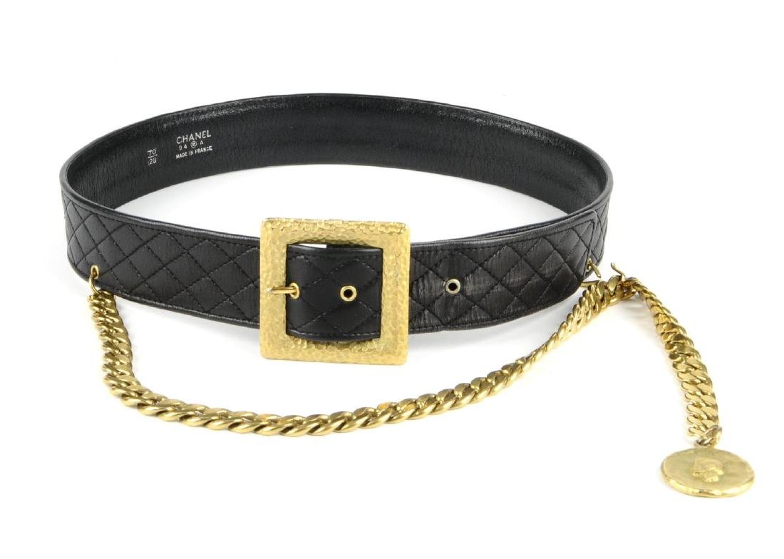 CHANEL - a vintage leather belt with chain drop. The - 4