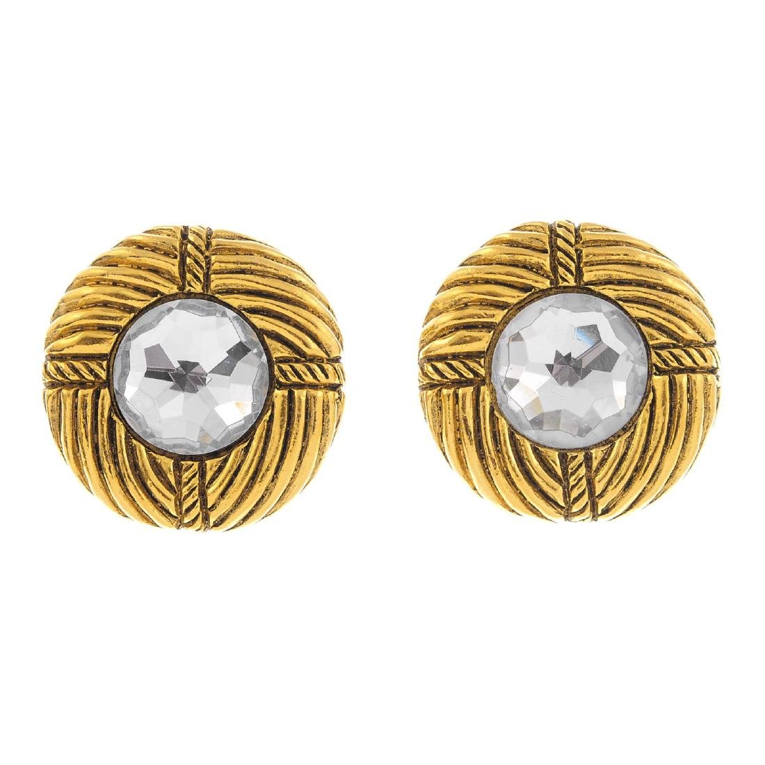 CHANEL - a pair of clip-on earrings. Each set with a