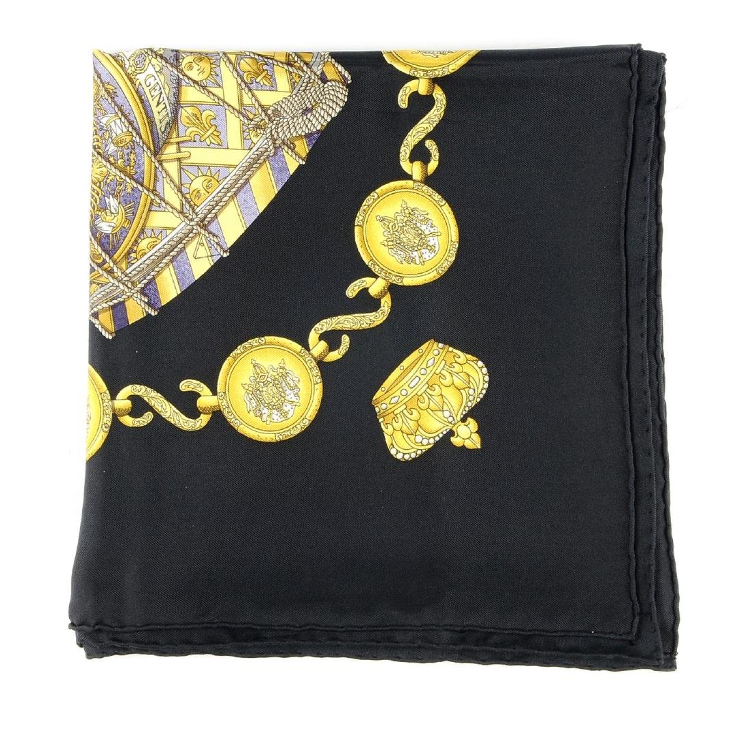 HERMÈS - a 'Les Tambours' scarf. Designed with gold
