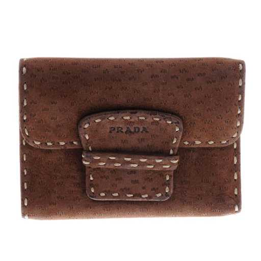 e1b872d83f42 PRADA - a brown suede leather wallet. Featuring a snap