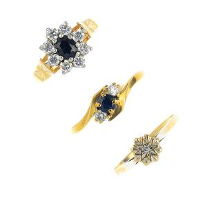 Three 9ct gold gemset rings To include a diamond