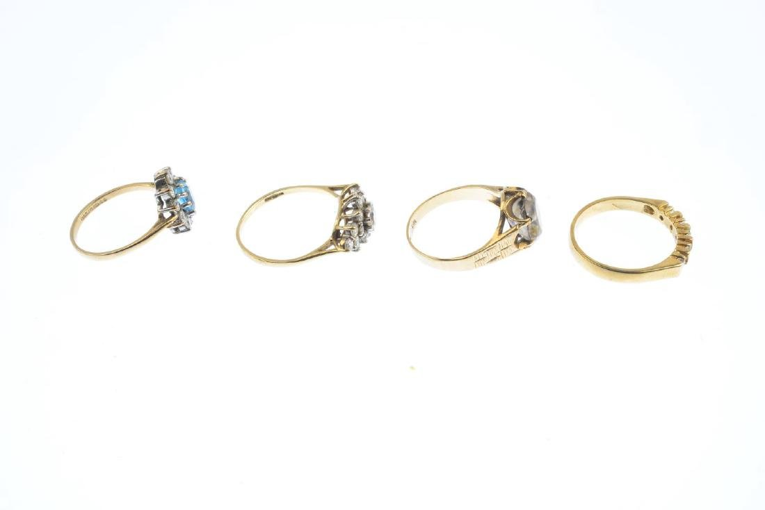Four 9ct gold gem-set rings. To include a blue topaz - 5