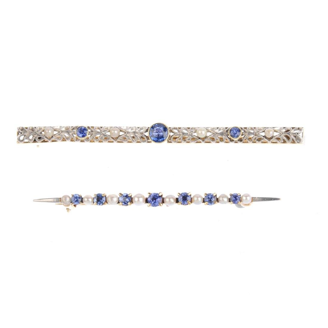 Two sapphire and seed pearl brooches. To include an