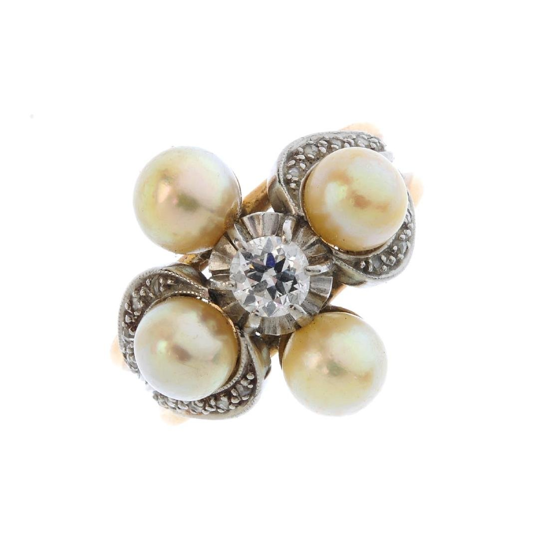 A diamond and cultured pearl dress ring. The old-cut