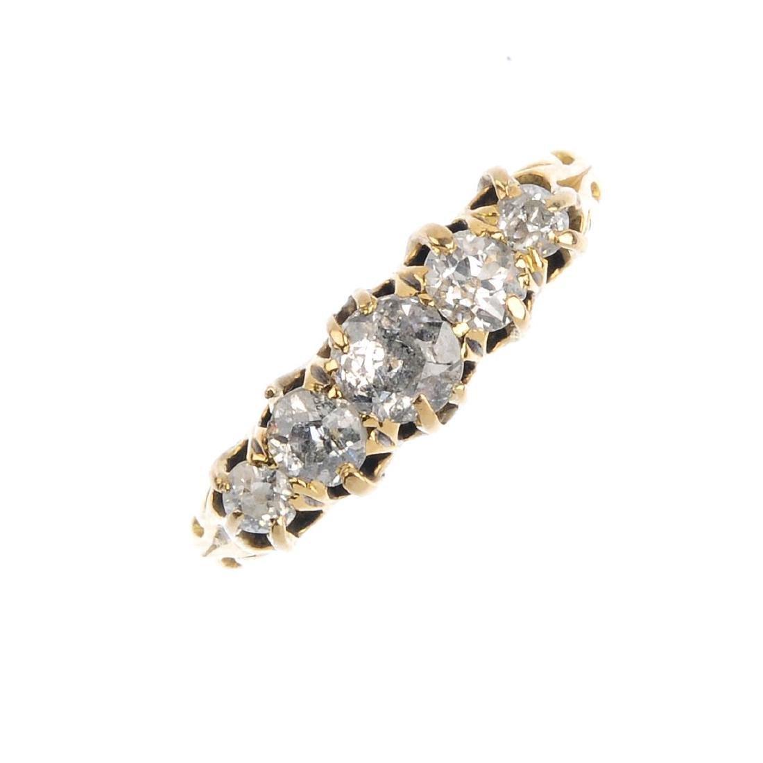 An Edwardian 18ct gold diamond five-stone ring.