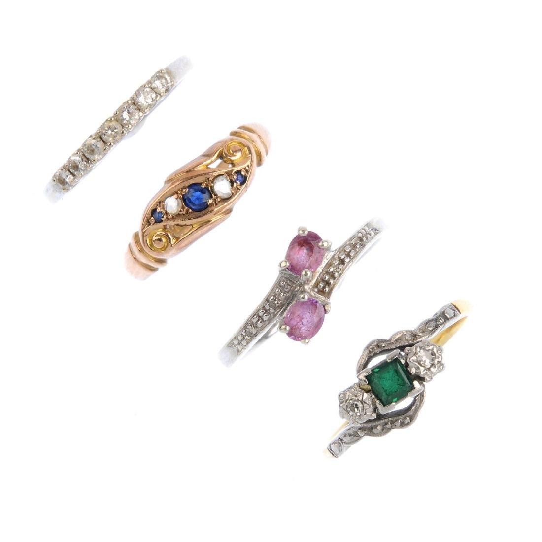 Four gem-set rings. To include an early 20th century