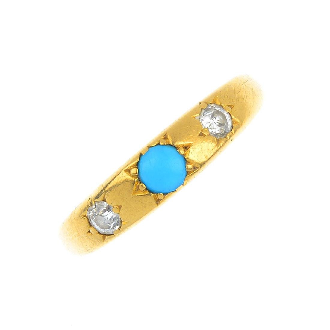 A diamond and gem-set ring and a pendant. To include a