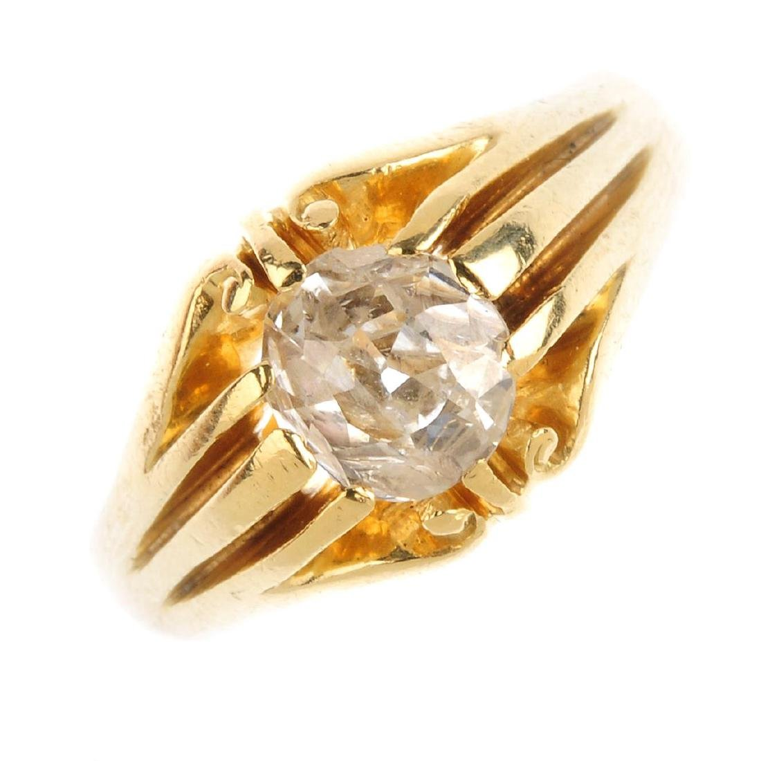 A Victorian 18ct gold diamond single ring. The old-cut