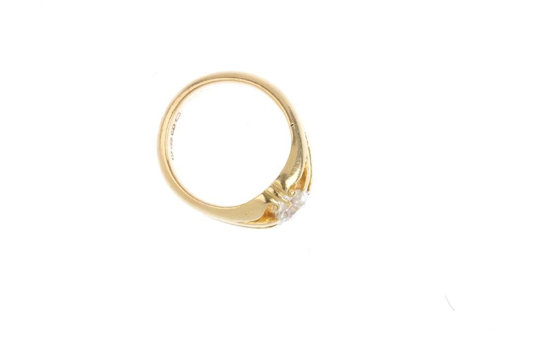 A Victorian 18ct gold diamond single ring. The old-cut - 2