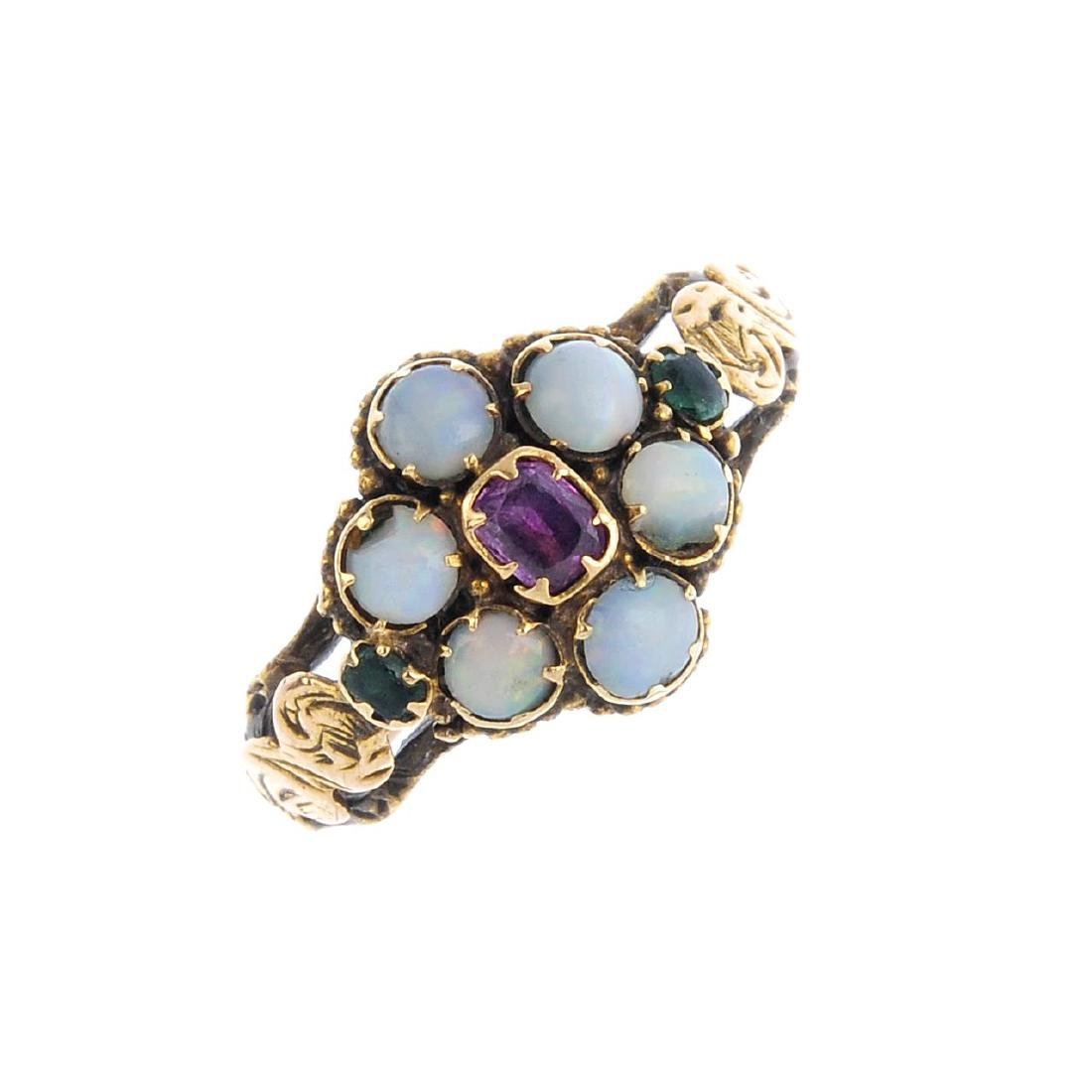 Two gem-set rings. To include a mid Victorian memorial
