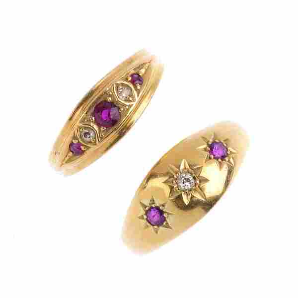 Two 18ct gold ruby and diamond rings. To include an