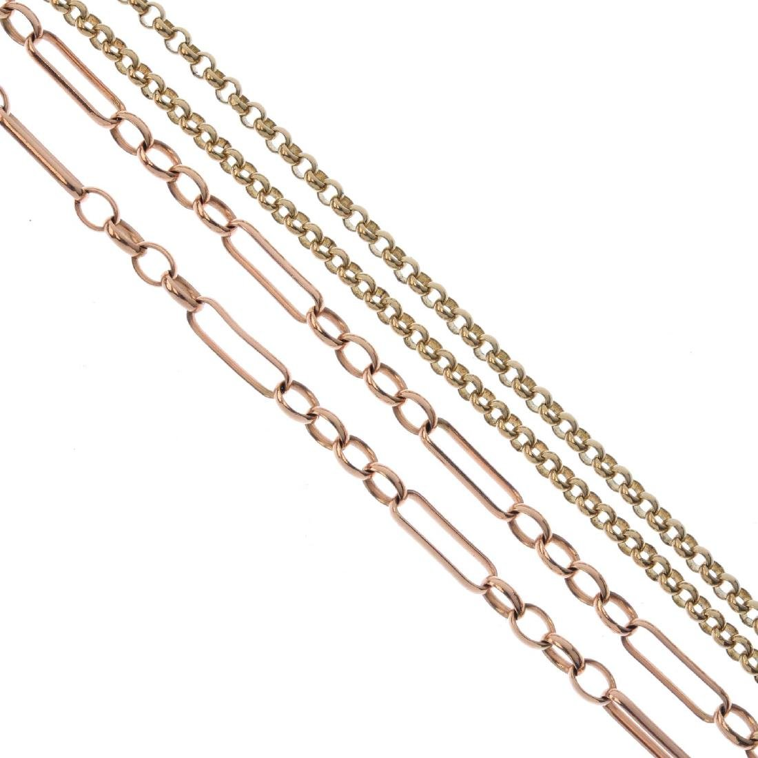 Two 9ct gold necklaces. To include a figaro-link chain,