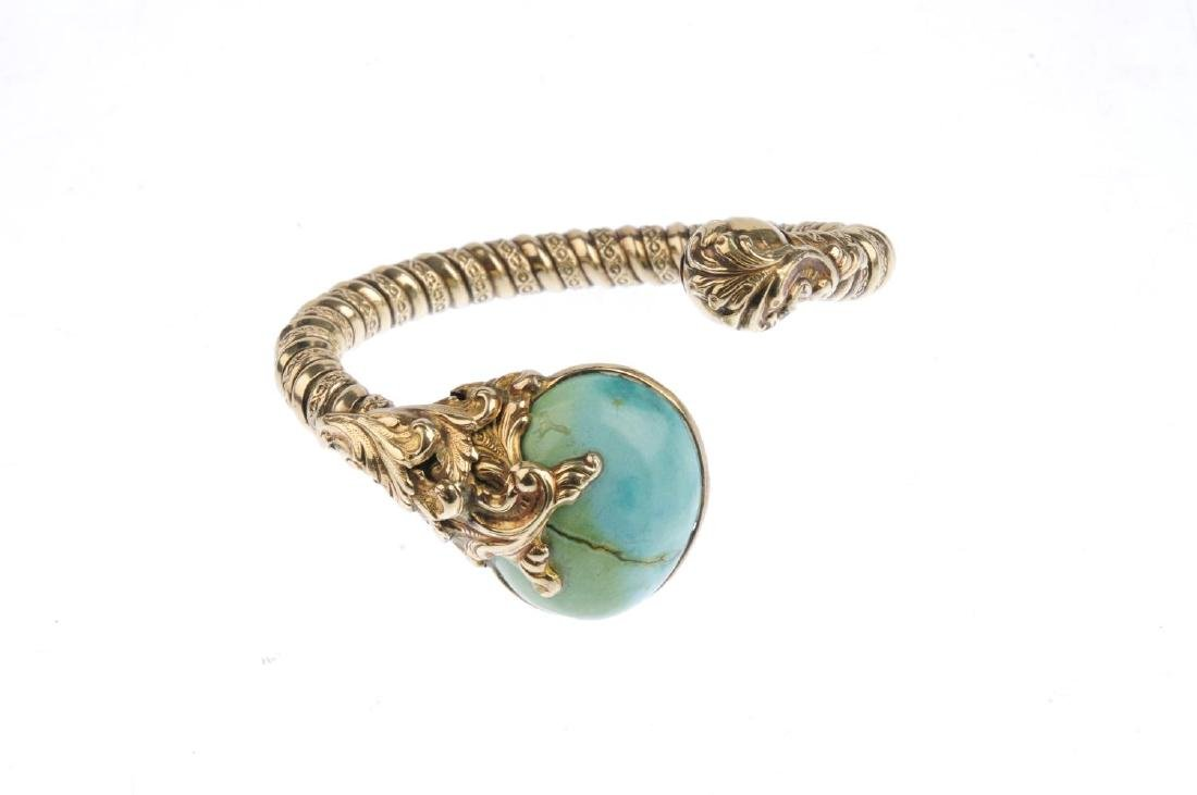 A turquoise cuff. The textured cuff, with oval - 2