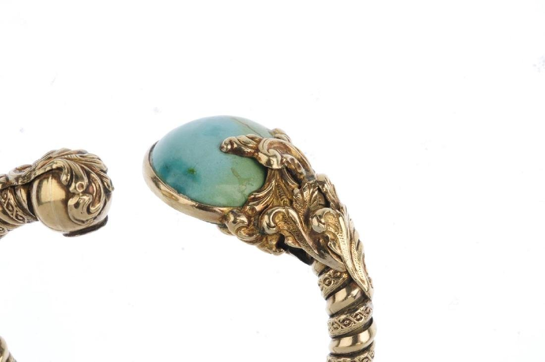 A turquoise cuff. The textured cuff, with oval - 4