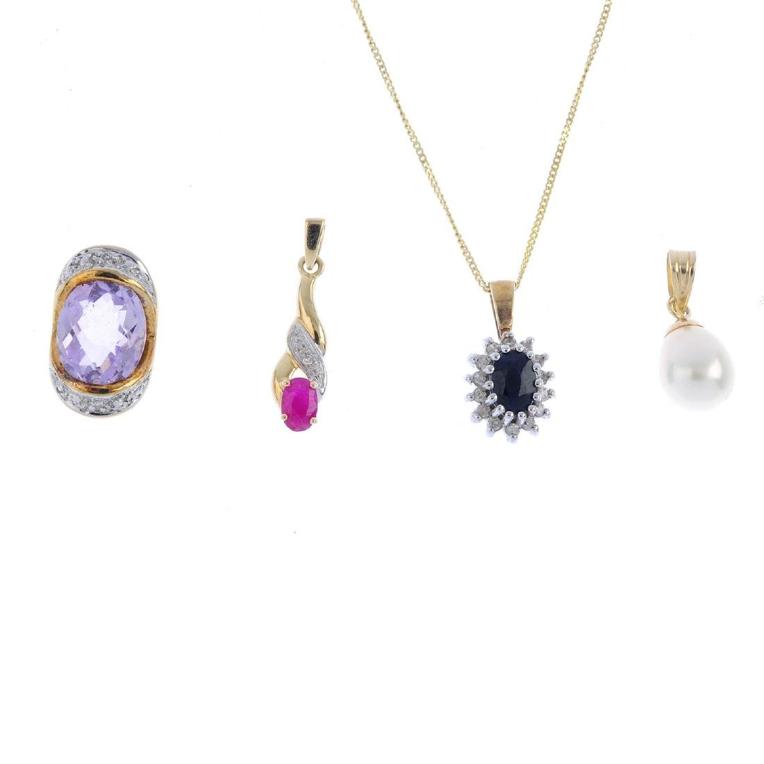 Four diamond and gem-set pendants. To include a