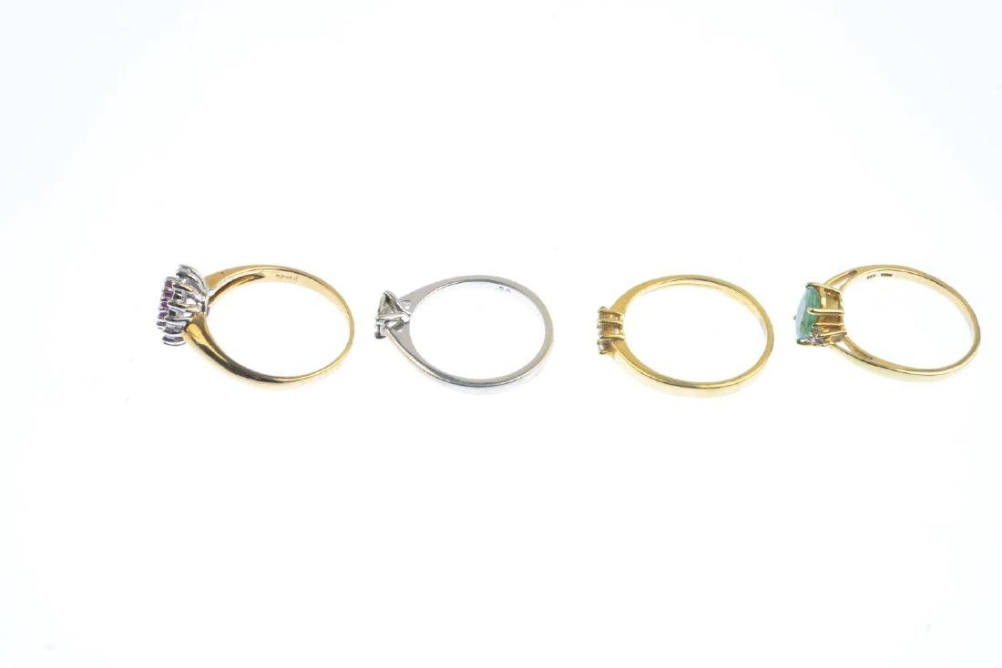 Four diamond and gem-set rings. To include a 9ct gold - 3