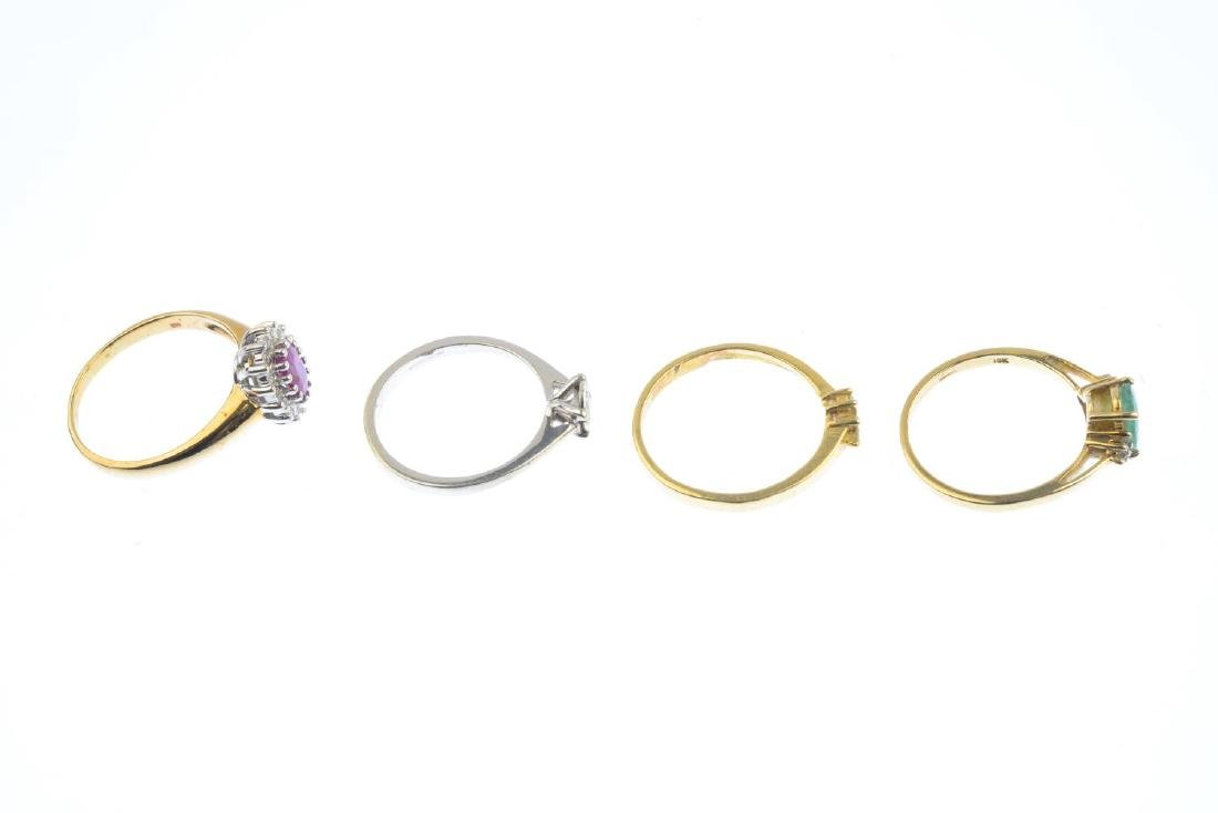 Four diamond and gem-set rings. To include a 9ct gold - 5