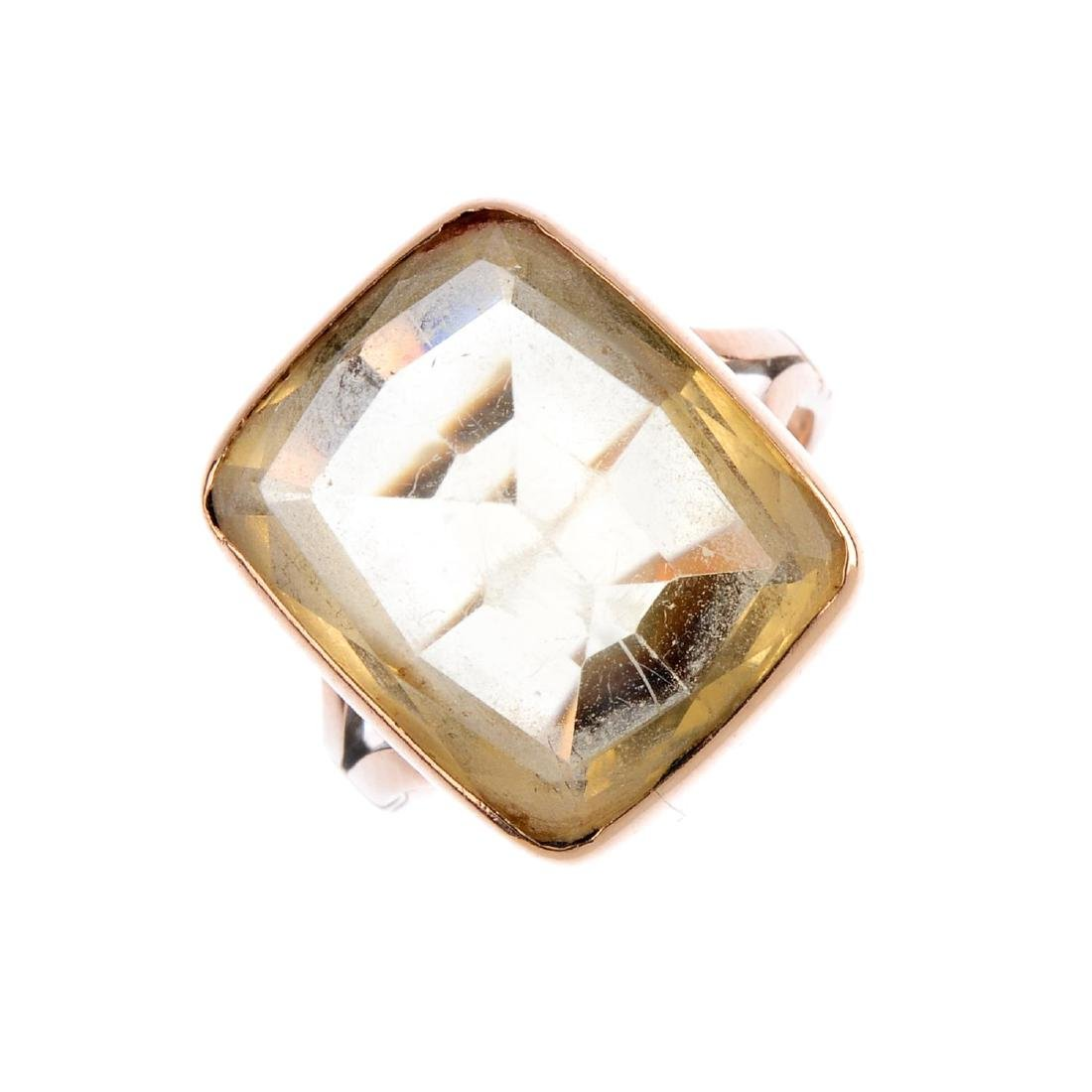 Two pairs of 9ct gold earrings and a citrine ring. To