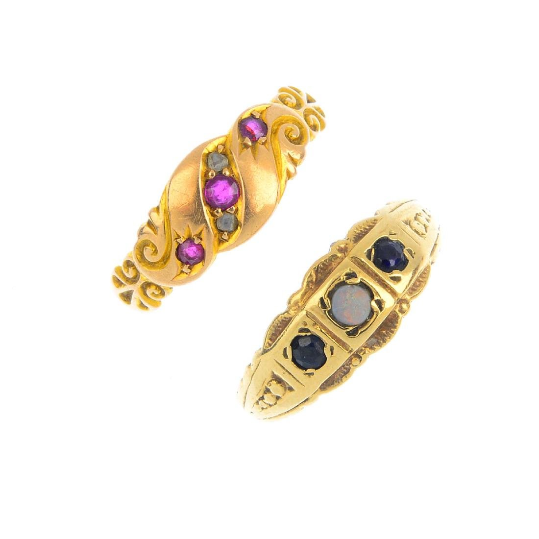 Four diamond and gem-set rings. To include an early