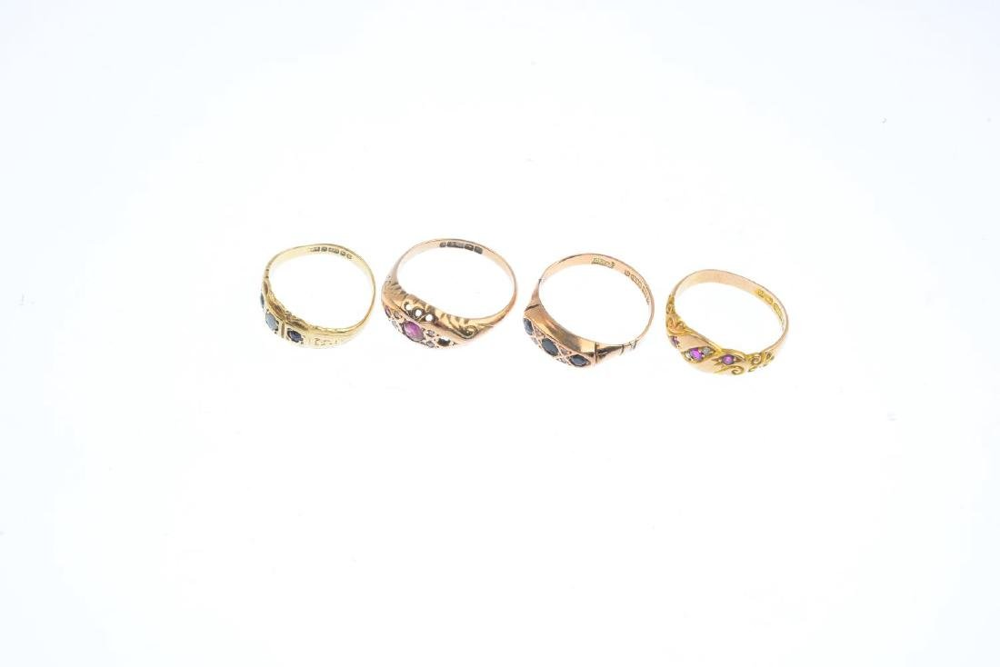 Four diamond and gem-set rings. To include an early - 3