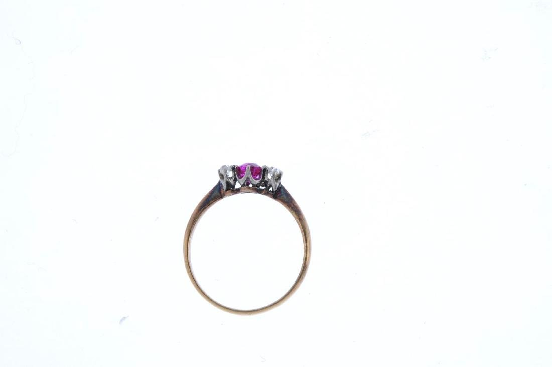 A ruby and diamond three-stone ring. The cushion-shape - 2