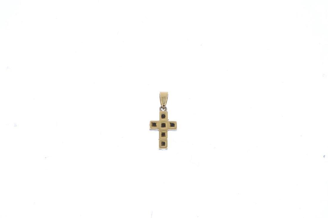 An 18ct gold diamond cross pendant. The brilliant-cut - 2