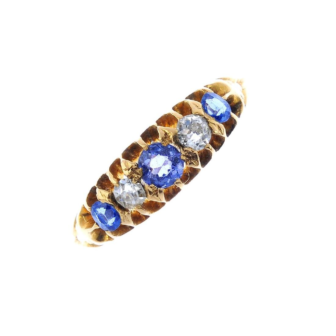 Two diamond and sapphire rings. To include an 18ct gold - 2