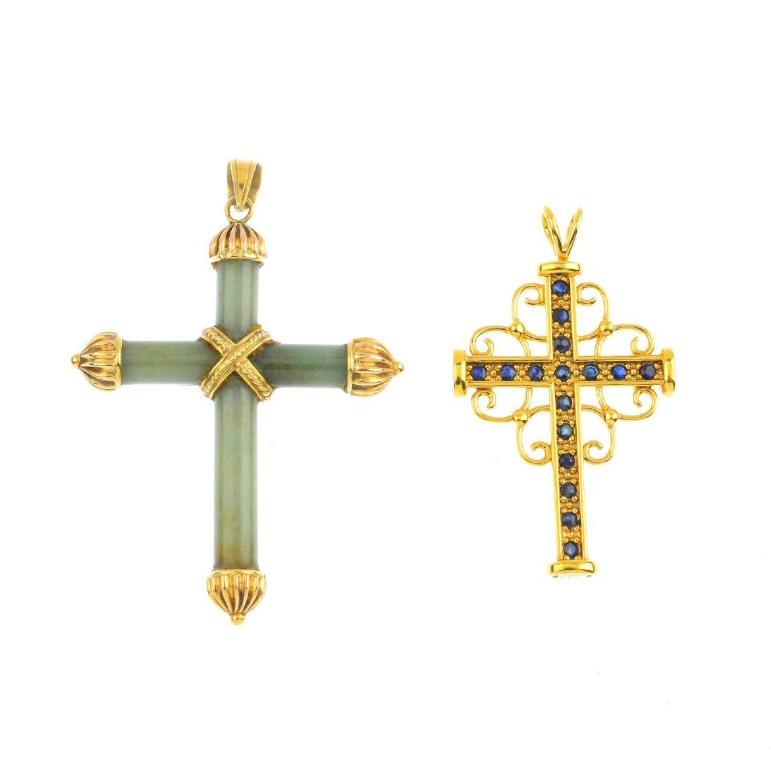 Two sapphire and jade cross pendants. To include a