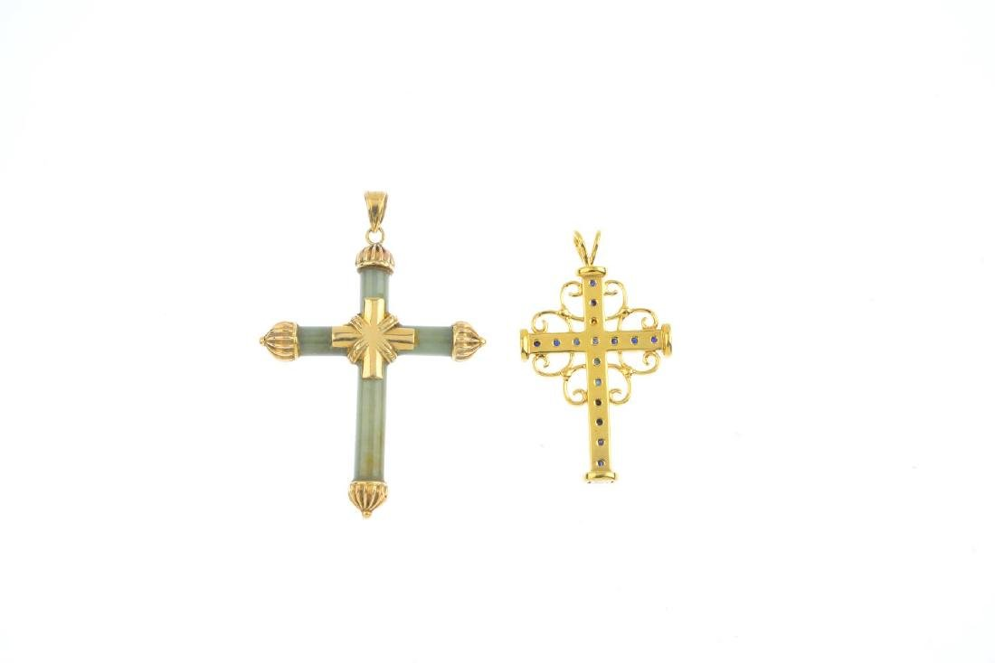 Two sapphire and jade cross pendants. To include a - 2