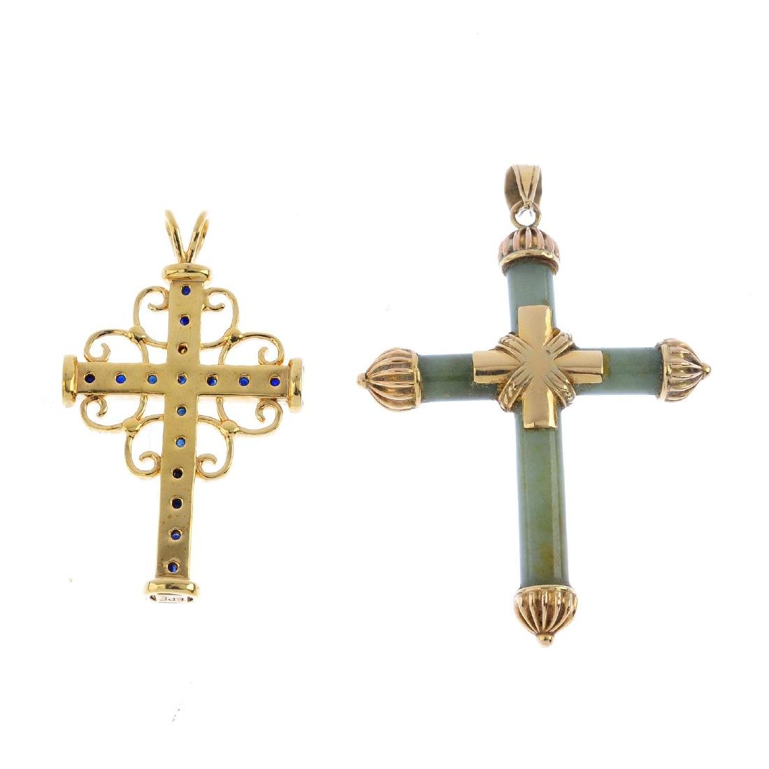 Two sapphire and jade cross pendants. To include a - 3