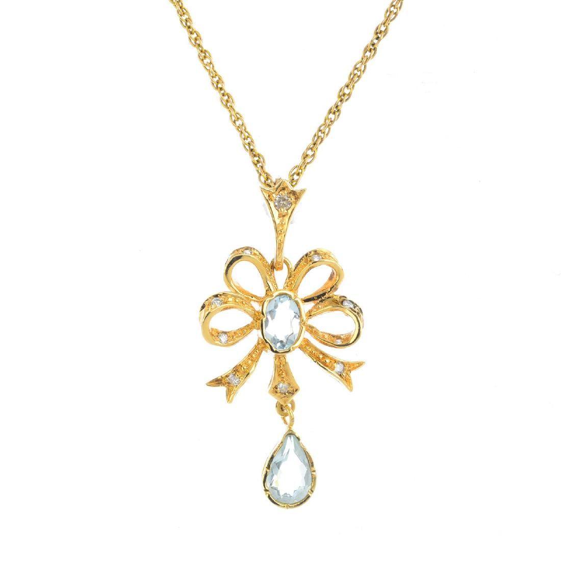 A set of 9ct gold aquamarine and diamond jewellery. To