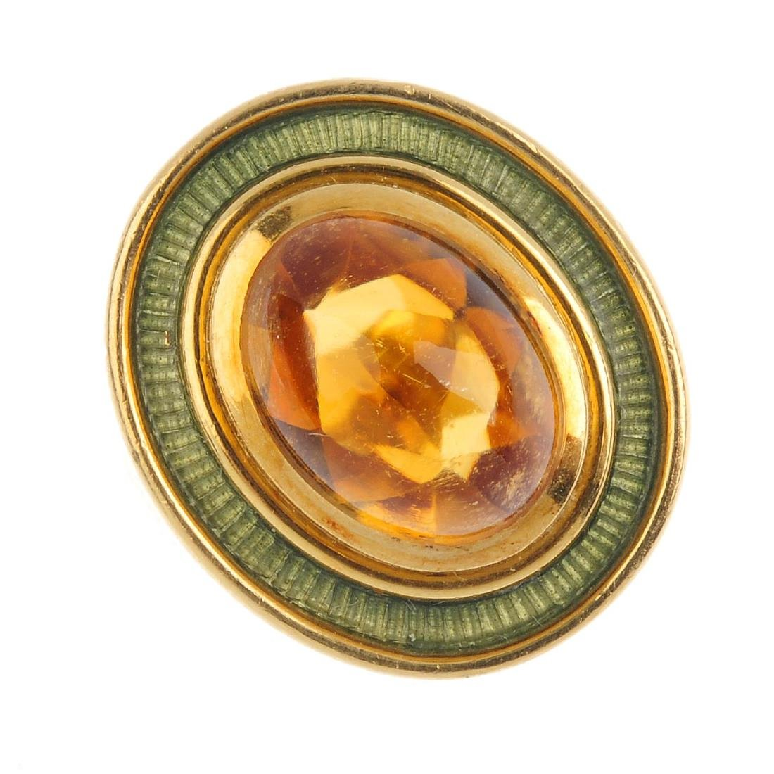 DE VROOMEN - an 18ct gold citrine and enamel ring. The
