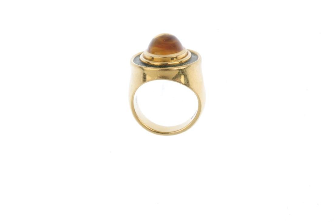 DE VROOMEN - an 18ct gold citrine and enamel ring. The - 2