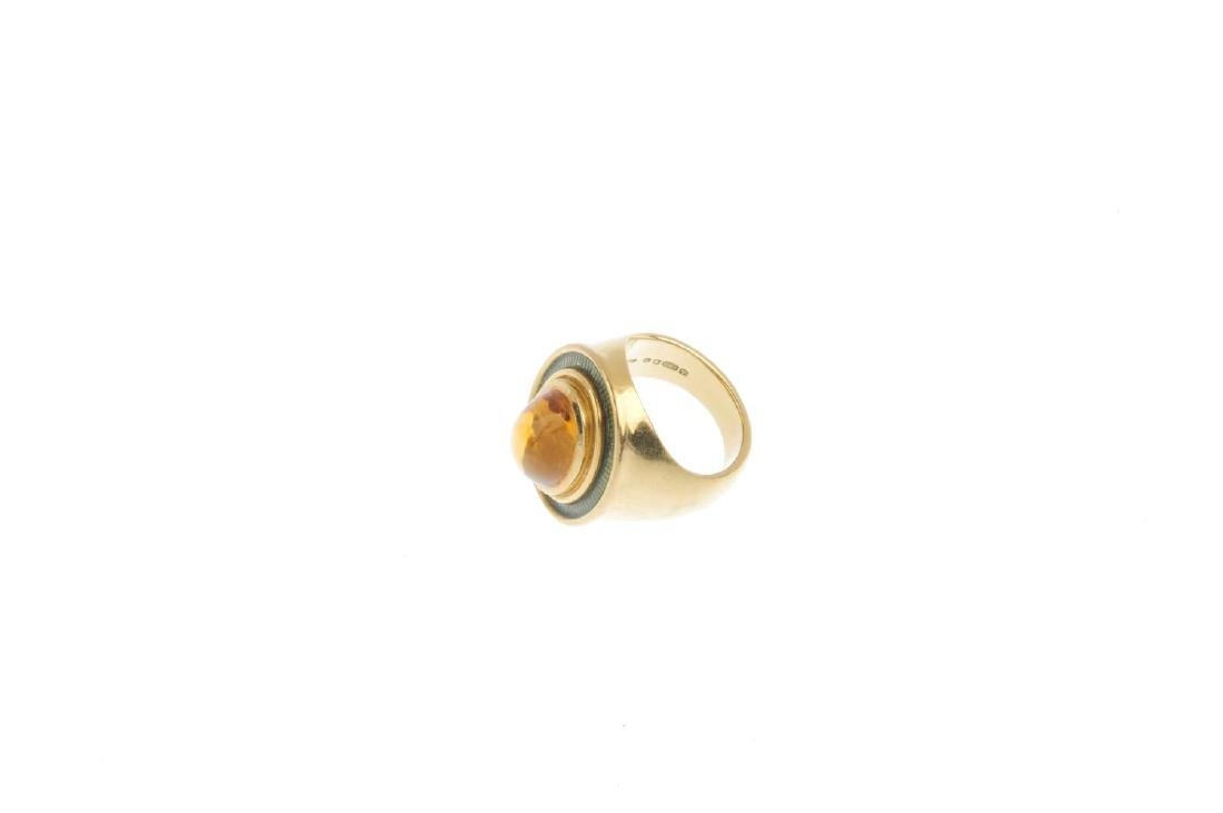 DE VROOMEN - an 18ct gold citrine and enamel ring. The - 3