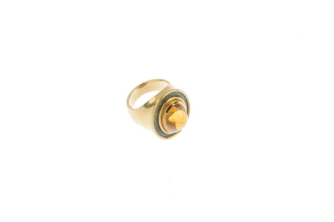 DE VROOMEN - an 18ct gold citrine and enamel ring. The - 4
